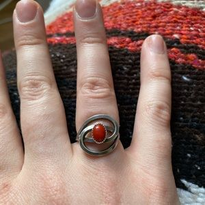 SS Coral Abstract Ring- Sz 4.25